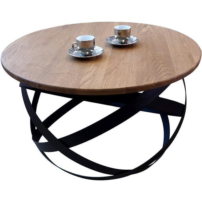 Florence Table basse en bois massif de chêne naturel au design moderne industriel minimaliste, chêne, rond, 70 x 42,5 cm[426]