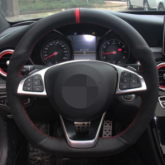 Couvre volant,Housse de volant de voiture en cuir suédé véritable, pour Mercedes Benz C200 C250 C300 Sport CLA220 B250 - Type 1