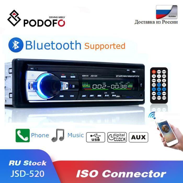 Autoradio Bluetooth avec lecteur multimédia, MP3, 1-Din, 12V, intégré au tableau de bord, son stéréo, radio