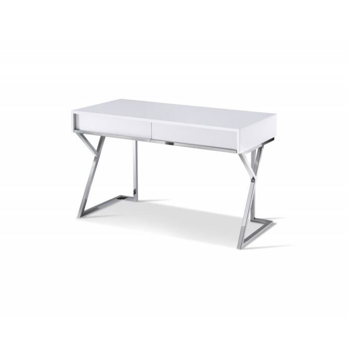 Bureau EPSYLON design blanc laqué piétement chromé 2 tiroirs blanc Inside75
