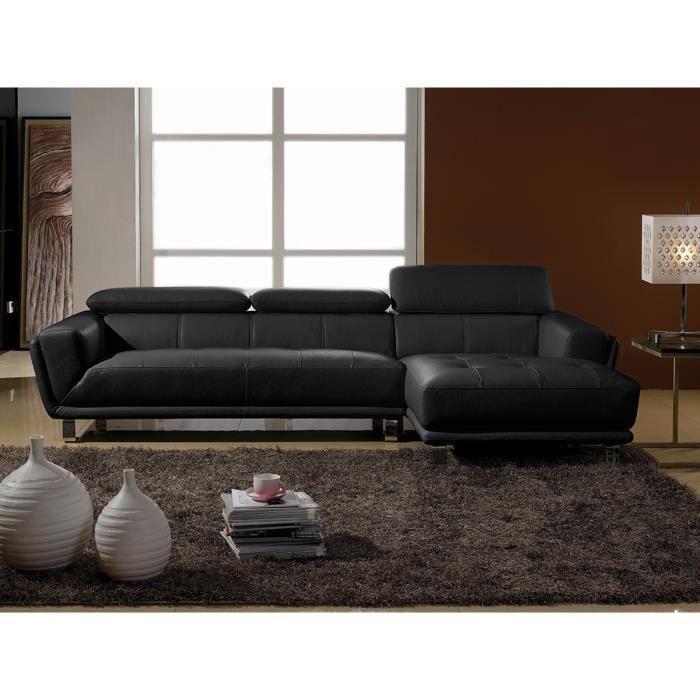 Canapé d'angle droit en cuir prestige noir CELINE
