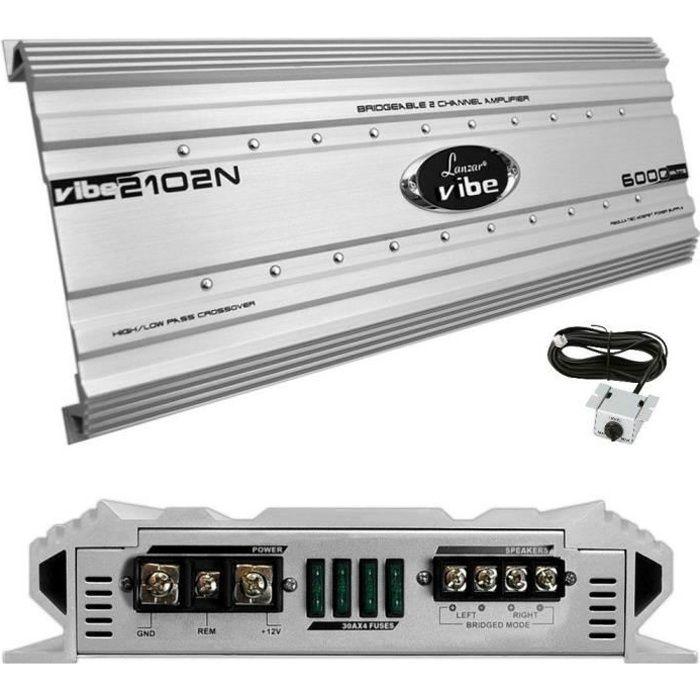 1 LANZAR VIBE 2102N VIBE2102N amplificateur 2 canaux de 6000 watts max et 2 x 1500 watts rms en classe ab remote inclus, 1 pièce