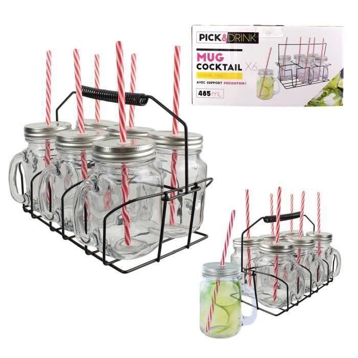 Set 6 Mug Cocktail 485ml avec Support Présentoir et 6 Pailles - Apéro Mojito - 771