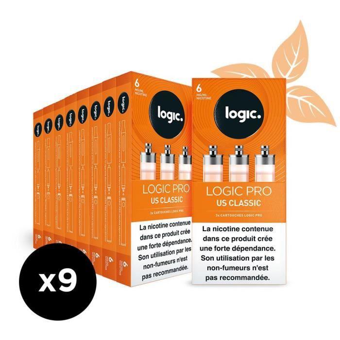 Logic PRO - Goût US Classic - 6 mg - 9 packs de 3 cartouches d'e-liquide.