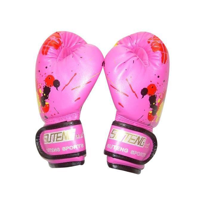 Gants de boxe enfants en cuir PU doux respirant gants d'entraînement de bande dessinée pour enfants Rose