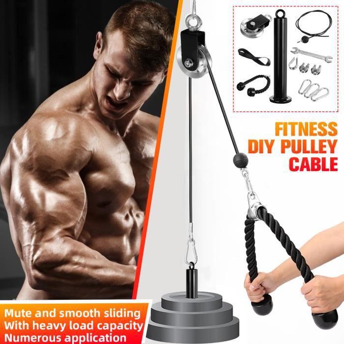 Fitness Poulie Système de câble Chargement Broche de Levage Triceps Machine Corde entraînement Longueur réglable Gym