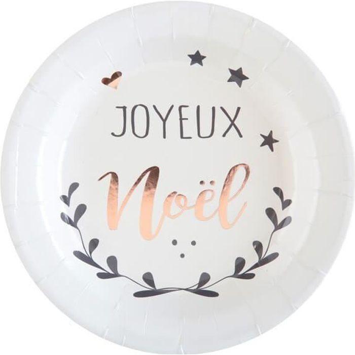 Petite assiette joyeux noël blanche (x10) R/5926 Matière carton