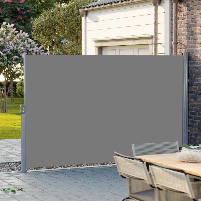 SONGMICS 3,5 x 2 m (L x H) Store latéral Brise-vue rétractable Paravent Pare-soleil pour balcon, patio, terrasse et jardin GSA205G01