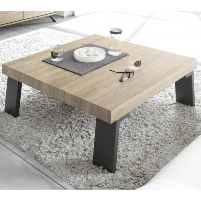 Table basse carrée Chêne clair/Métal - PALERME - L 86 x l 86 x H 40