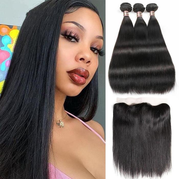 100% Cheveux Humains 3 Paquets 100g/pcs Péruvienne Cheveux Lisse Avec 13x4 Frontale(26 28 30+22-closure)