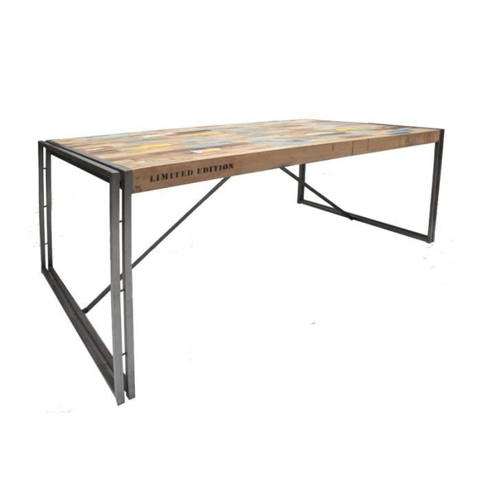Table en bois rectangle 200 cm industry achat vente - Model de table a manger en bois ...