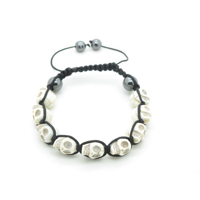 bracelet shamballa tete de mort blanc fil noir achat. Black Bedroom Furniture Sets. Home Design Ideas