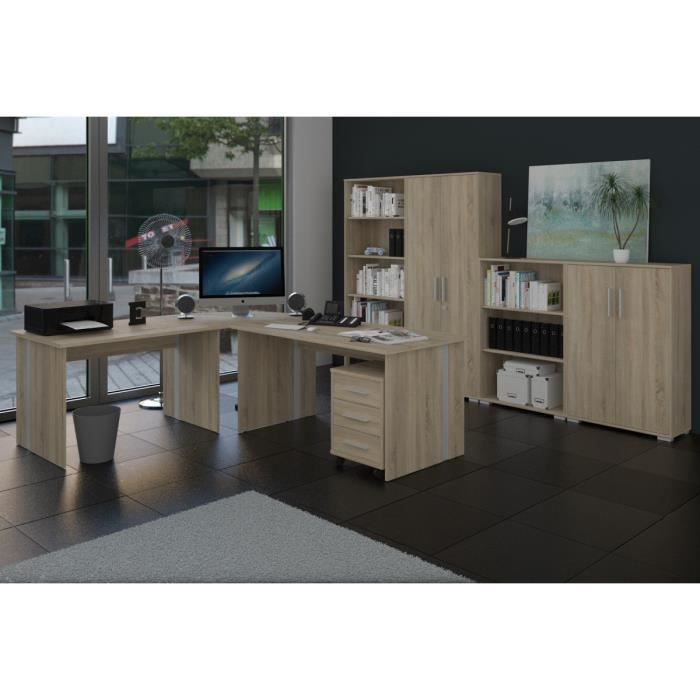 meubles de bureau ensemble 8 pi ce fini sonoma ch ne achat vente armoire de bureau meubles. Black Bedroom Furniture Sets. Home Design Ideas