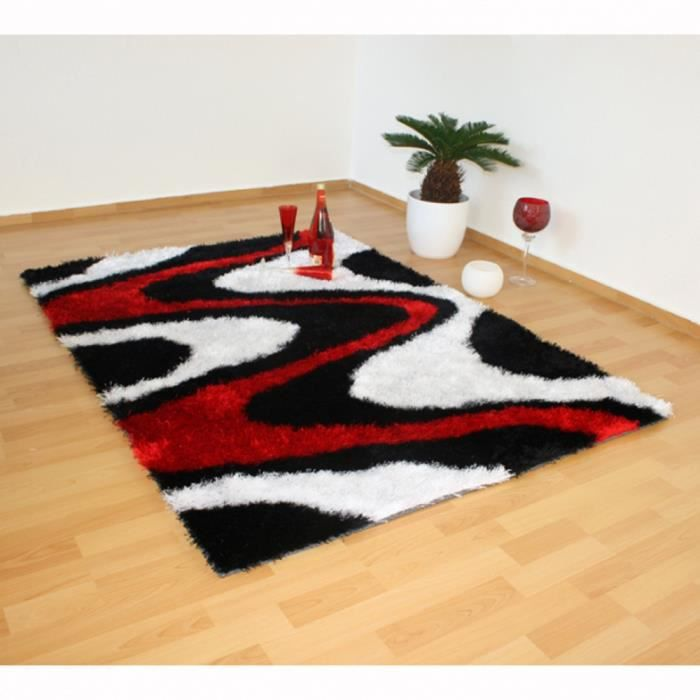 tapis shaggy 3 coloris noir blanc rouge 80 x 15 achat. Black Bedroom Furniture Sets. Home Design Ideas