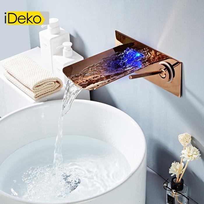 iDeko® Robinet salle de bain LED de lavabo vasque cascade mural vintage  style D\'OR rose mono laiton céramique