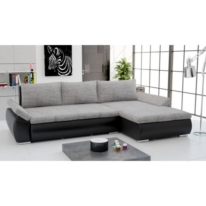 canap d 39 angle convertible carmen gris et noir achat vente canap sofa divan soldes. Black Bedroom Furniture Sets. Home Design Ideas
