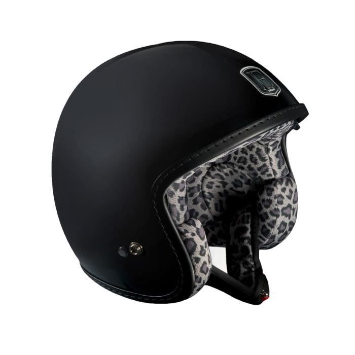 casque moto jet avec int rieur leopard gris racer achat vente casque moto scooter casque. Black Bedroom Furniture Sets. Home Design Ideas