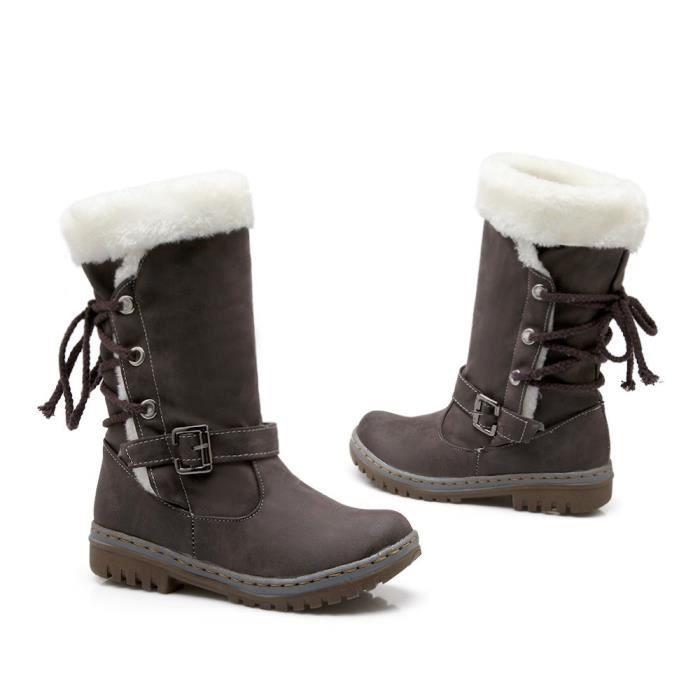 Classiques Bottes de neige Femme Mode Talons Chaussures plates Bottes d'hiver chaudes de fourrure
