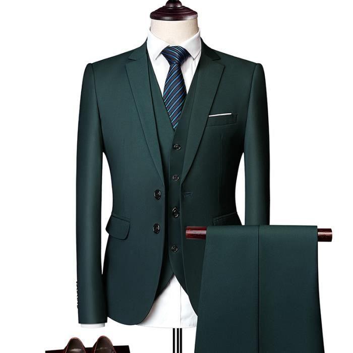 COSTUME - TAILLEUR Homme Costume Uni Trois Pièces Coupe Slim Cintrée