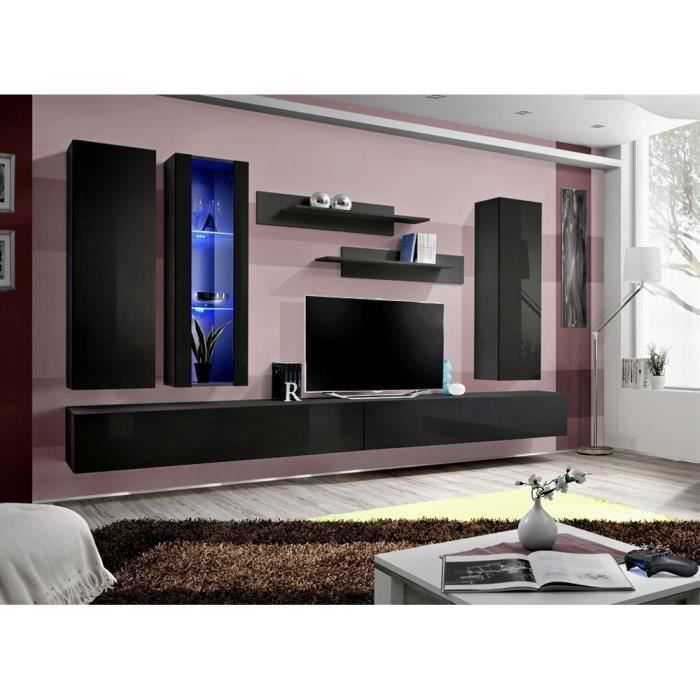 meuble tv fly e4 noir noir laqu achat vente meuble tv meuble tv fly e4 noir noir cdiscount. Black Bedroom Furniture Sets. Home Design Ideas