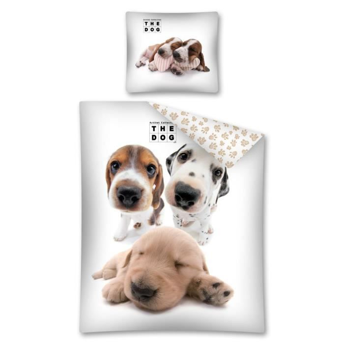 parure de lit chien chiots animaux the dog achat vente parure de drap cadeaux de no l. Black Bedroom Furniture Sets. Home Design Ideas