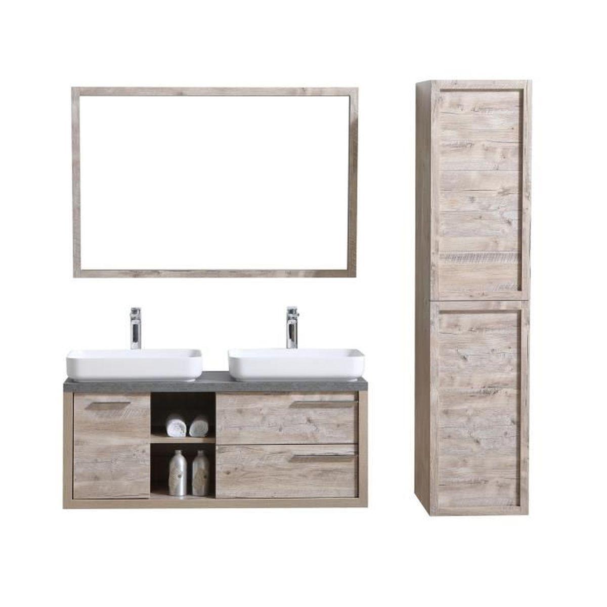 Meuble Pour Vasque Avec Colonne meuble de salle de bain vermont 120cm lavabo nature wood