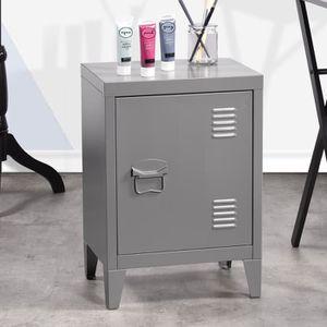 ARMOIRE DE BUREAU Mini bibliothèque Table de chevet en acier gris, c