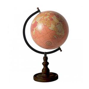 GLOBE TERRESTRE Globe Terrestre Style Ancien Rose Saumon Base Noir