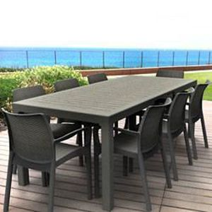 Salon de jardin: table SONATA 1m62/2m15 graphite + 8 ...