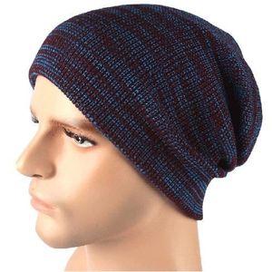 BONNET - CAGOULE Bonnet bleu Chapeau à tricoter à rayures en automn