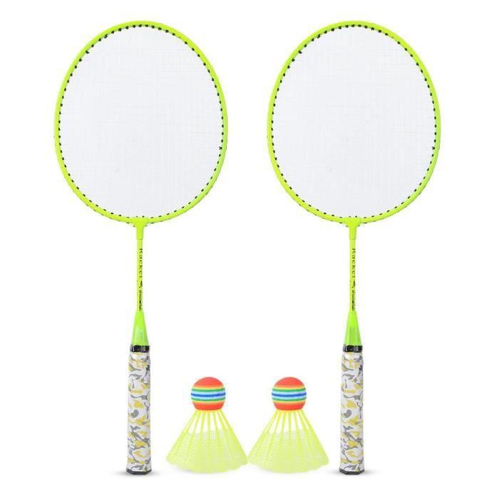 XUY Kit de Raquette de Badminton avec 2 Balles Jeu de Sport Extérieur Jouet d'Enfant Garçons Filles(Jaune Fluorescent )