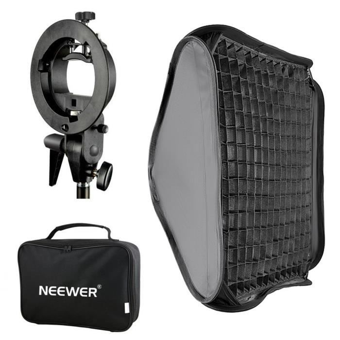 Softbox pour studio photo Neewer 40x40cm Bowens Monture Softbox avec Grille et S-Type Flash Support pour Nikon SB-600-SB 17123