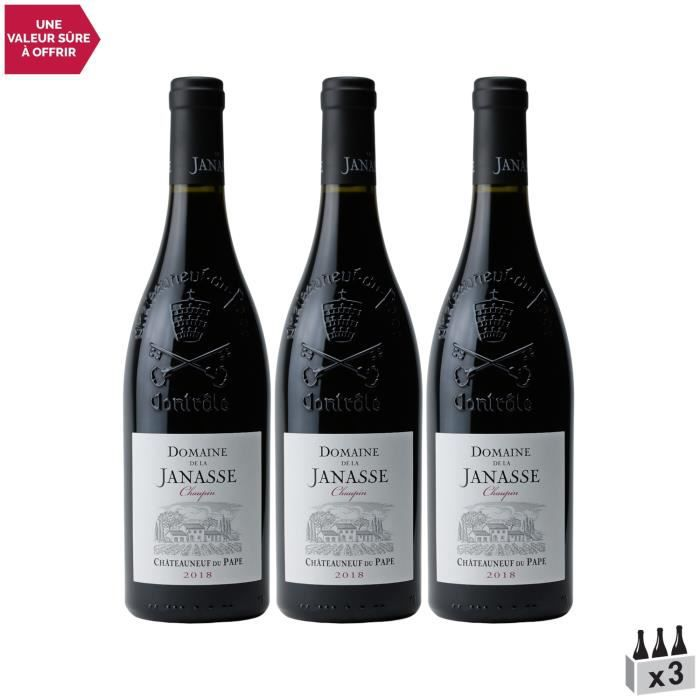 Châteauneuf-du-Pape Chaupin Rouge 2018 - Lot de 3x75cl - Domaine de la Janasse - Vin AOC Rouge de la Vallée du Rhône