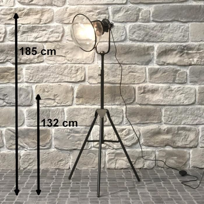 Lampadaire Halogène Lampe Industrielle Fer Globe Verre 185 cm - 14405-Lampe-Bis