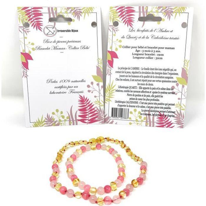 Box collier bébé et bacelet adulte -Ambre / Quartz/Calcédoine -Pierres naturelles -Vertus -Idée cadeau -Méthode naturelle -Bienfaits