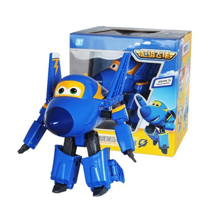 Super Wings Jerome Avion Transformable Voiture Robot Jouet Transformable Personnages d'anime Cadeau de Garçon Noël 12CM
