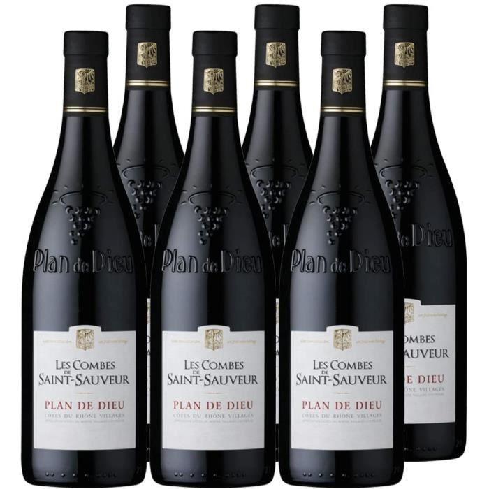 Les Combes de Saint Sauveur - AOP Côtes du Rhône Village -Plan de Dieu- - Vin Rouge - Lot de 6 bouteilles x 75 cl