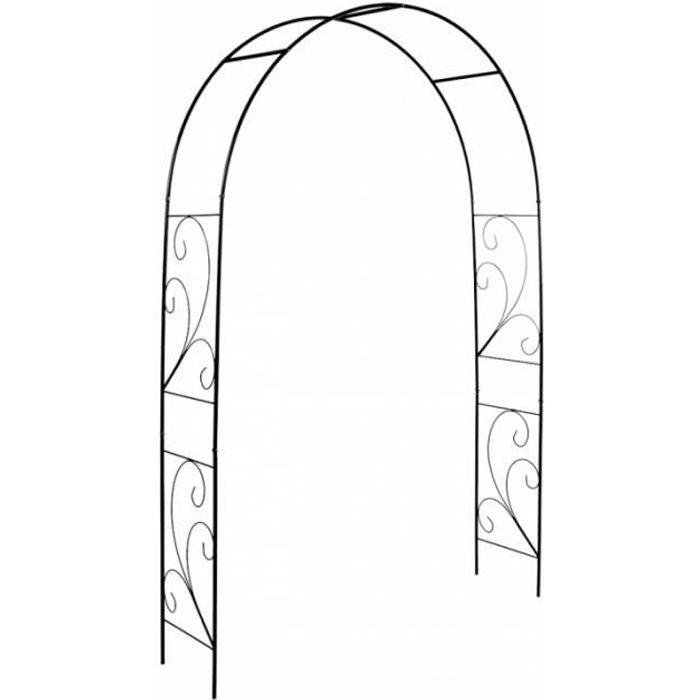 Décoration de jardin - Arche pour roses - L 37 x l 152 x H 217,5 cm - Décors volutes Noir