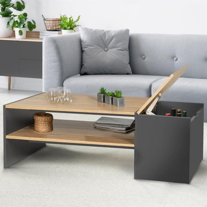 Table basse bar bois et gris IZIA contemporaine avec coffre