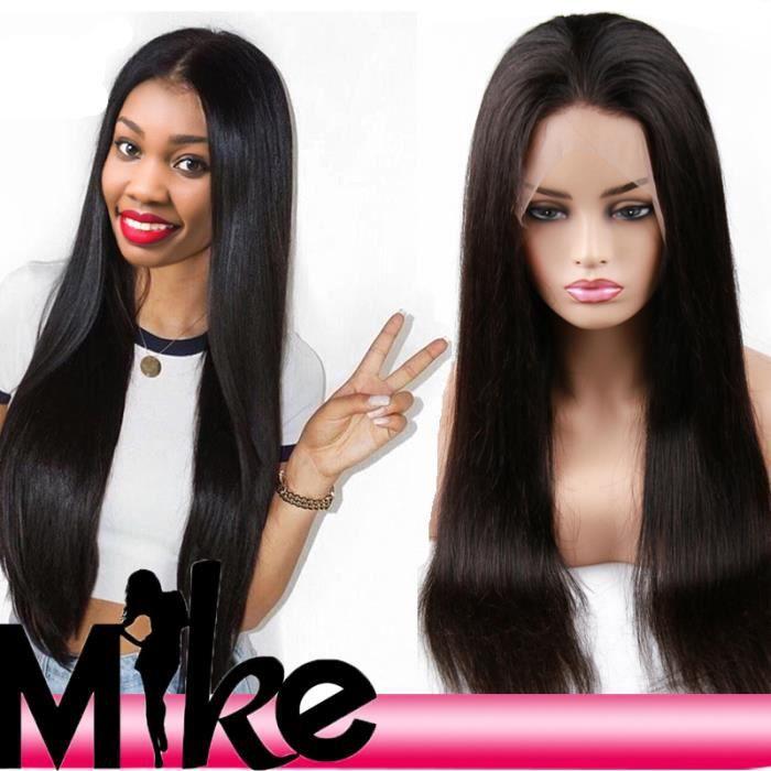 Perruque Bresilienne Cheveux Humains Naturels Perruque Femme lisse avec Lace Front Lace Wig (Densité: 200%, Longueur: 24--60cm)