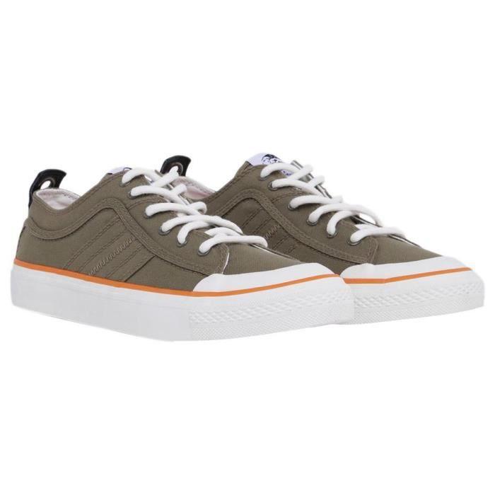 chaussures homme baskets diesel astico logo. sneakers basses avec dessus en toile. le modèle arbore une languette contrastante au ta