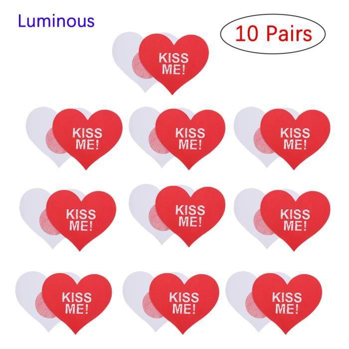 dPois 10 Paires Cache-Tétons en Forme Coeur Bra Cache-Mamelon Invisible Luminous pour Robe Soirée Mariage Lingerie de Nuit