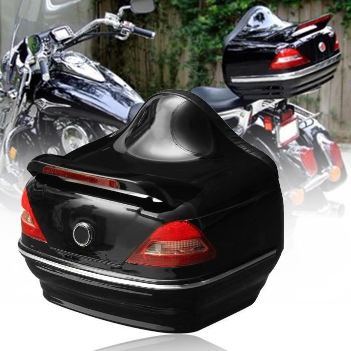 1x Coffre de Moto Noir Top case Avec Feu Arrière Pour Harley Honda Yamaha Suzuki Vulcan Cruiser