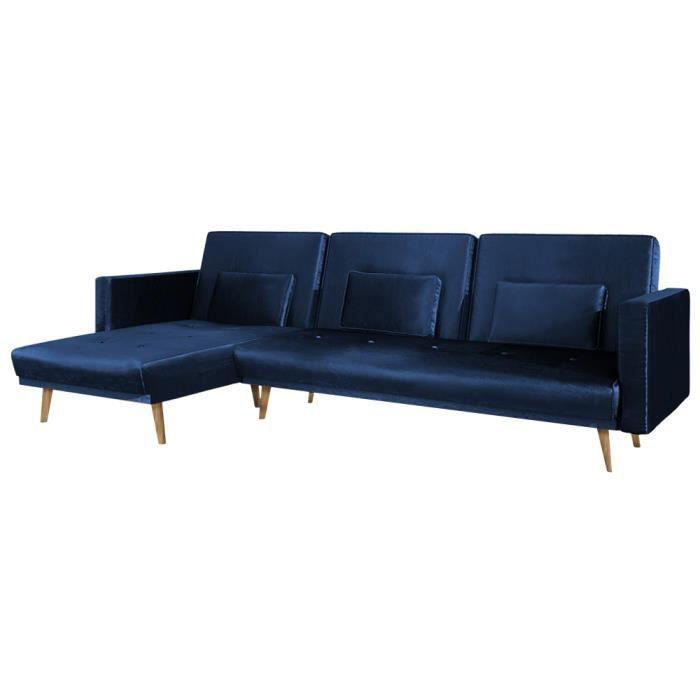 Canapé d'angle convertible - MRU MRU - bleu marine - pieds bois