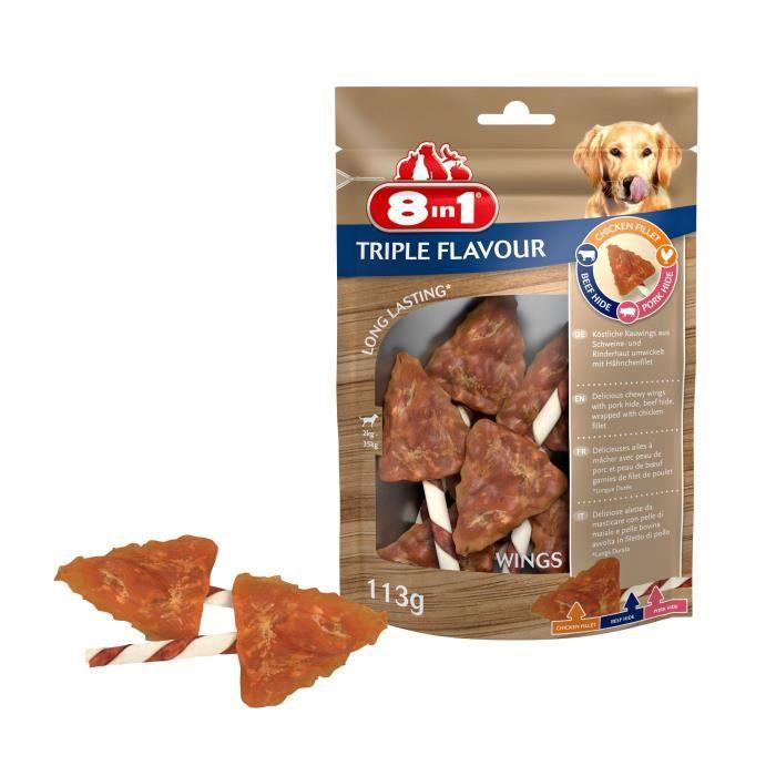 8in1 Triple Flavour Ailes à mâcher Premium aux Bœuf, Porc, Poulet - Pour chien de petite taille - 6 pièces