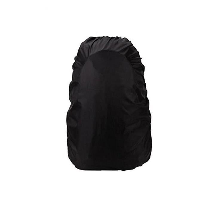 Sac à dos imperméable à l'eau de pluie Couverture 55-60 L, aménagee verticale Boucle Bracelet & Argent Coated Black