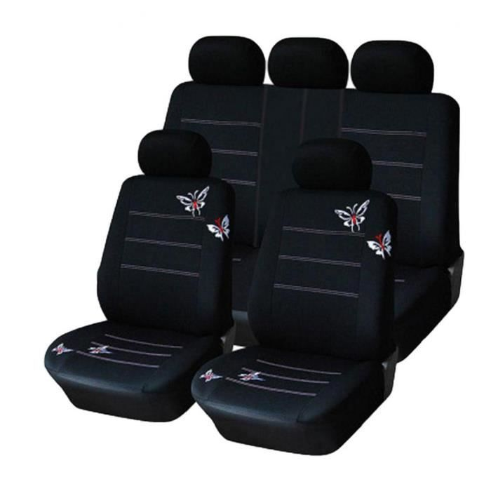 Couverture de siège de voiture universelle imperméable à l'eau plein couvercle noir protecteur de siège auto noir 9pcs