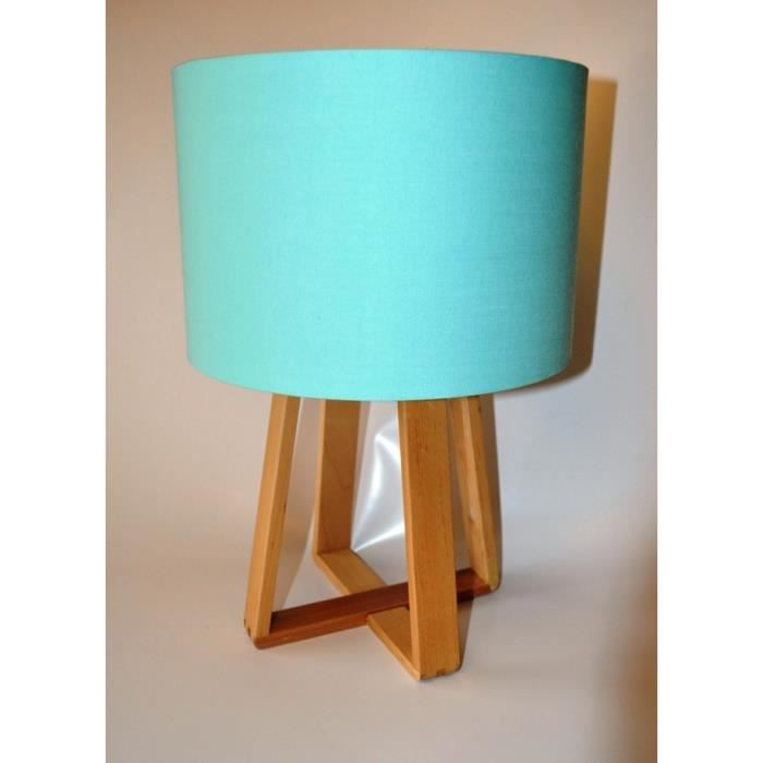 lampe bleue avec pied en bois achat vente lampe bleue. Black Bedroom Furniture Sets. Home Design Ideas