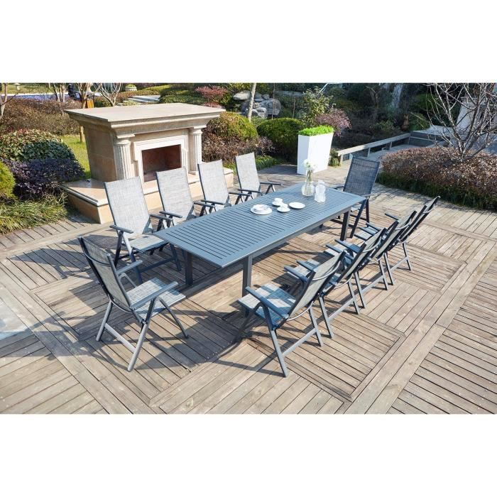 Le Merry : Salon de jardin table extensible et 10 chaises en ...