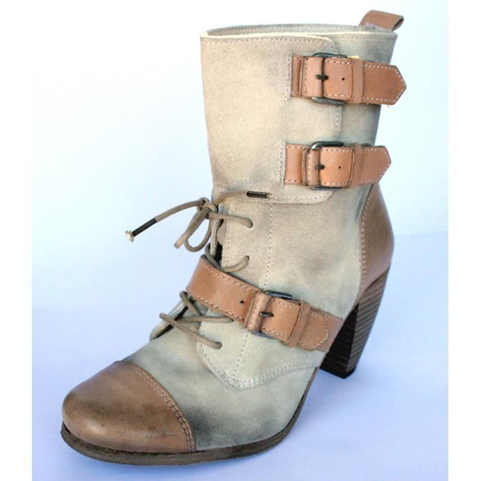 "BOTTINES FEMME 100%CUIR BEIGE T 39 """"ALL SAINTS ""NEUVES"